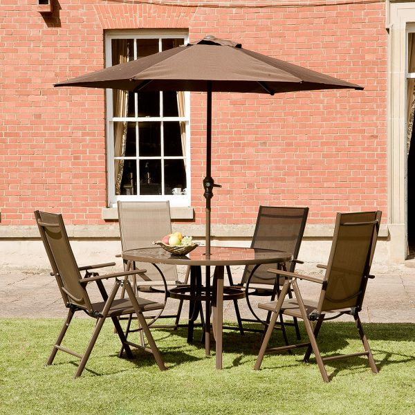 1.2m Santos 4 Seat Aluminium Outdoor Dining Set