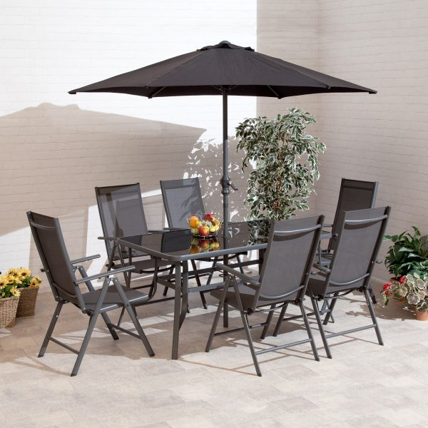 1.5m Santos 6 Seat Charcoal Aluminium Outdoor Dining Set