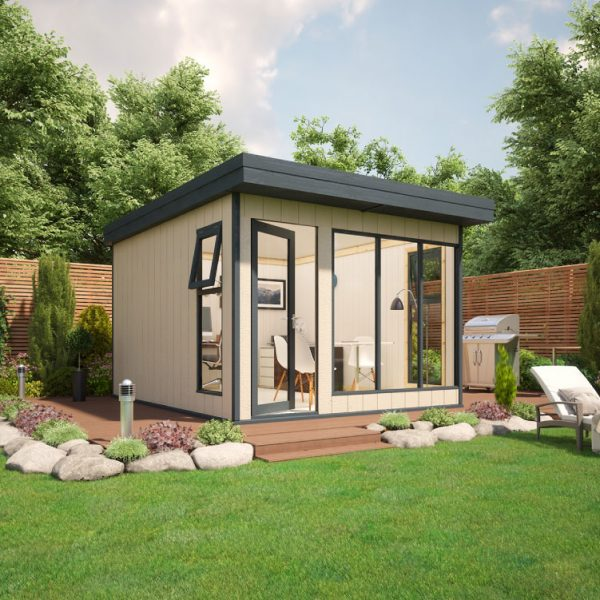 10x12 9mm Composite Timber Cladding Pent Shed - Evolution Insulated Composite Garden Office