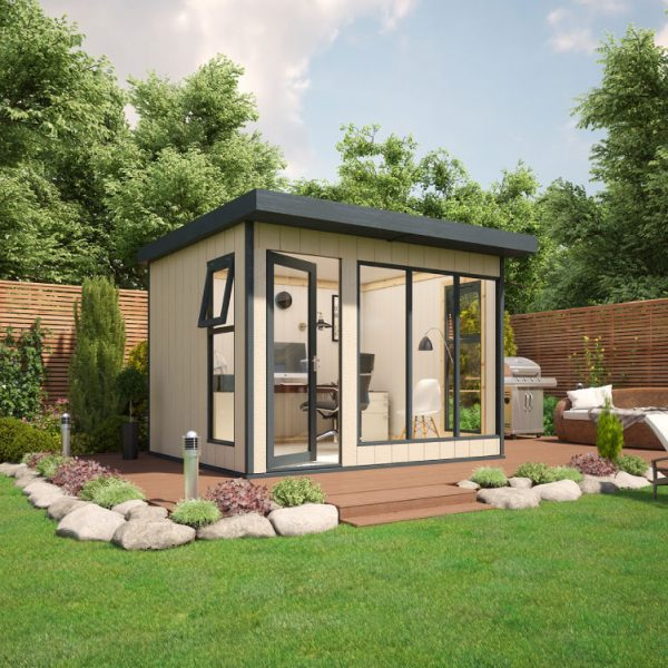 10x8 9mm Composite Timber Cladding Pent Shed - Evolution Insulated Composite Garden Office