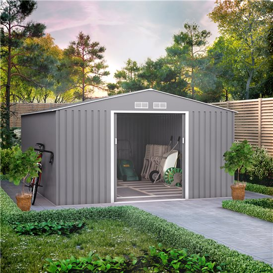 11x14 BillyOh Ranger Apex Metal Shed With Foundation Kit - Light Grey
