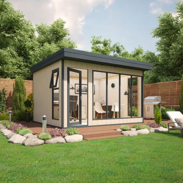 12x10 9mm Composite Timber Cladding Pent Shed - Evolution Insulated Composite Garden Office