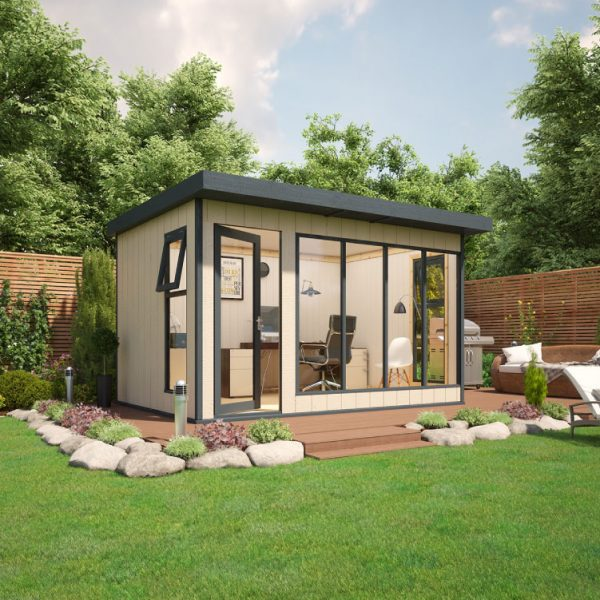 12x8 9mm Composite Timber Cladding Pent Shed - Evolution Insulated Composite Garden Office