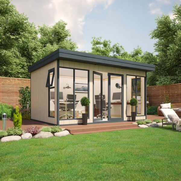 14x10 9mm Composite Timber Cladding Pent Shed - Evolution Insulated Composite Garden Office