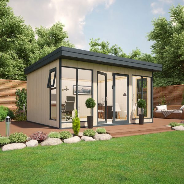 14x12 9mm Composite Timber Cladding Pent Shed - Evolution Insulated Composite Garden Office
