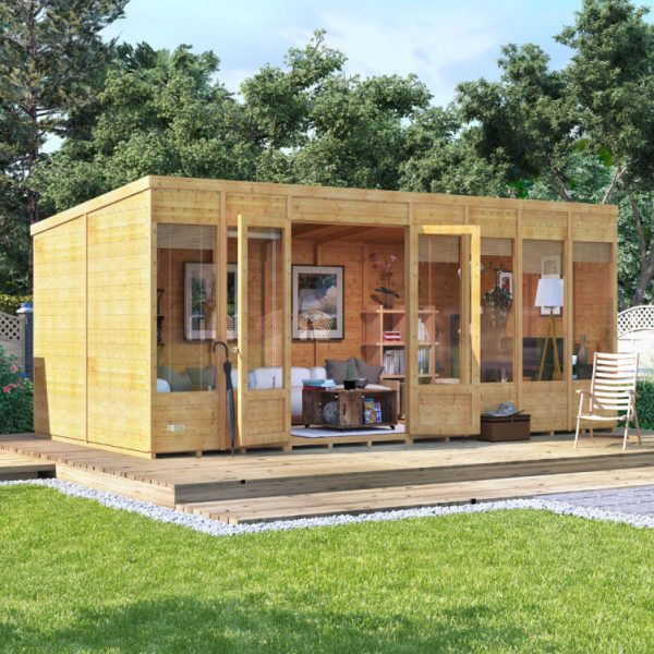 16 x 8 BillyOh Bella Tongue and Groove Pent Roof Garden Summerhouse