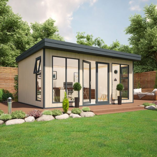 16x12 9mm Composite Timber Cladding Pent Shed - Evolution Insulated Composite Garden Office