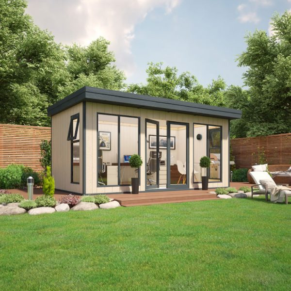 16x8 9mm Composite Timber Cladding Pent Shed - Evolution Insulated Composite Garden Office