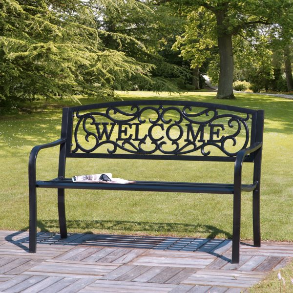 "2 Seat Black Cast Iron ""Welcome"" Garden Bench"