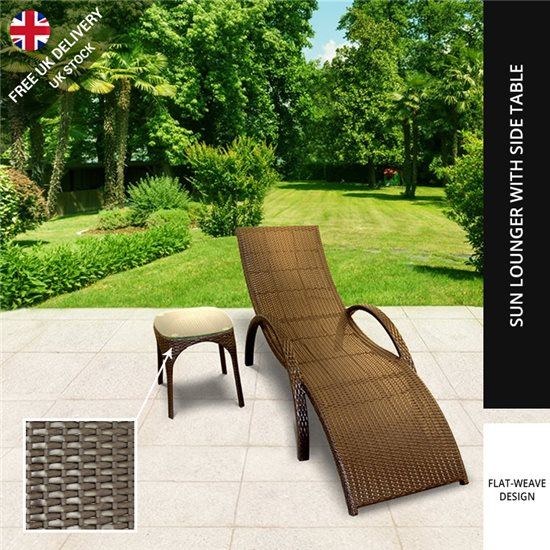 BillyOh Rosario Single Sun Lounger - Rattan Lounger Chair in Brown with Side Table - 1 x Lounger with 1 x table