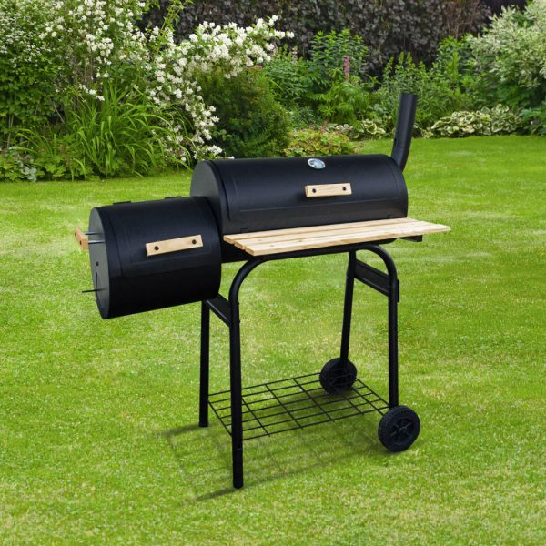 BillyOh Smoker BBQ Charcoal Grill Full Drum + Offset Smoker Barbecue Black 116x105x51cm - Portable Full Drum