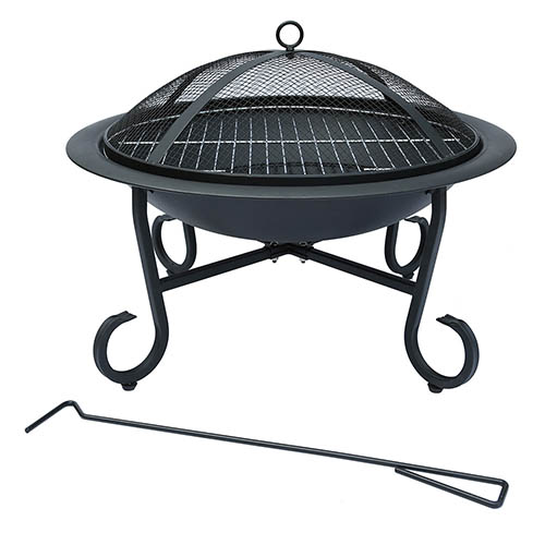 Charles Bentley 56cm Round Open Bowl Fire Pit - Black