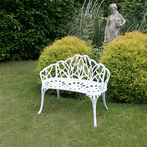 Charles Bentley Cast Aluminium Tulip 2 Seater Garden Bench - White