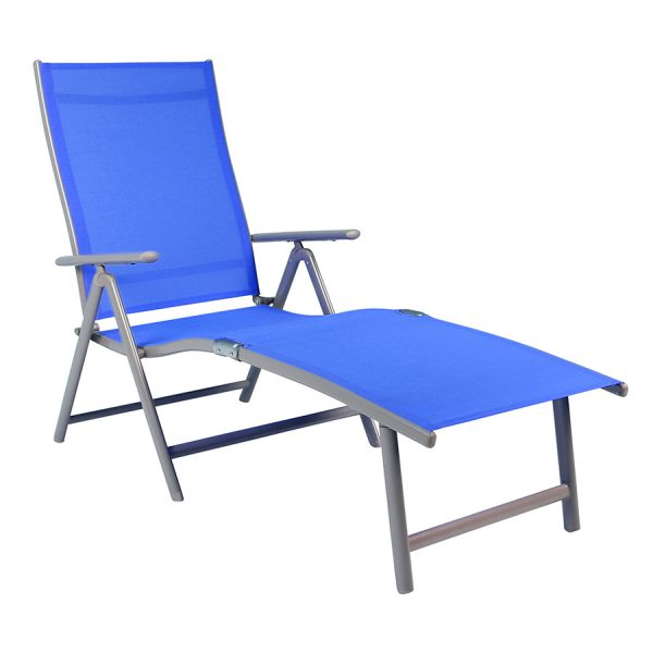 Charles Bentley Foldable Sun Lounger - Blue