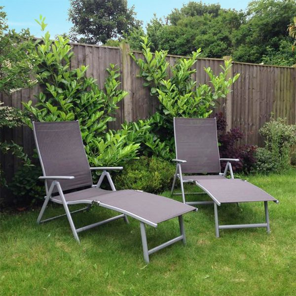 Charles Bentley Foldable Sun Lounger - Grey