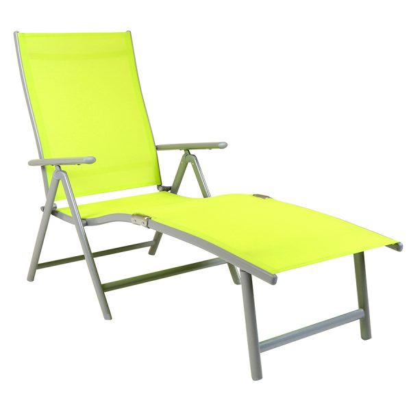 Charles Bentley Foldable Sun Lounger - Lime Green