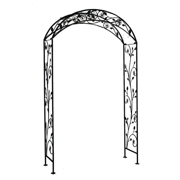 Charles Bentley Garden Wrought Iron Garden Arch Black
