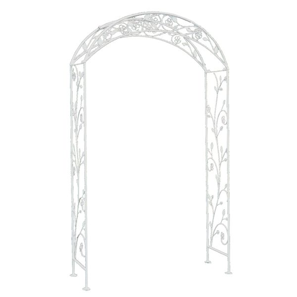 Charles Bentley Garden Wrought Iron Garden Arch White