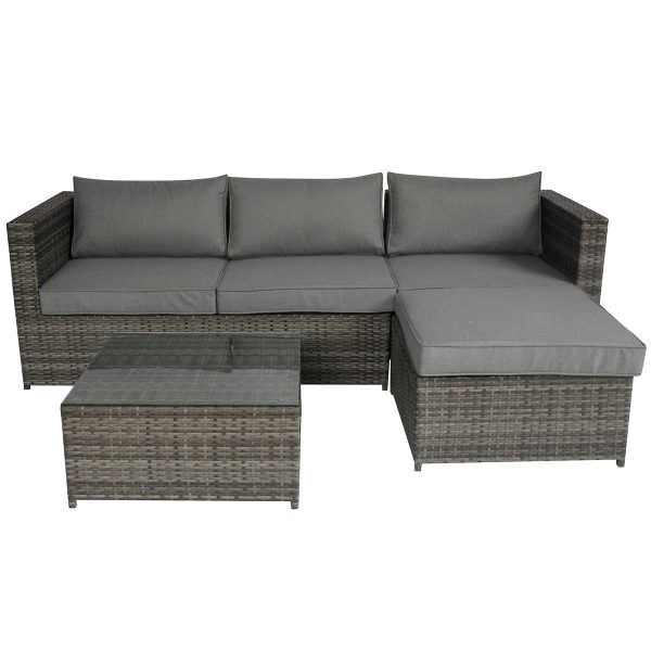 Charles Bentley L-Shaped 3 Seater Rattan Lounge Set - Grey