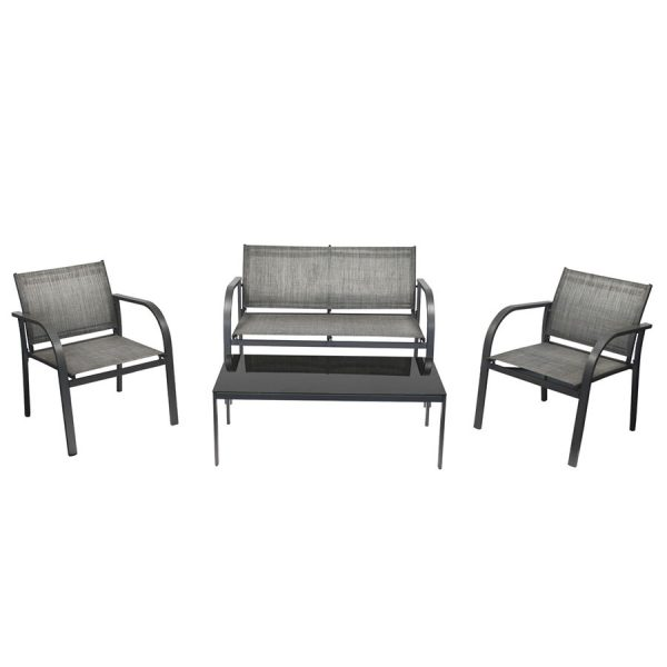 Charles Bentley Modern Mesh Outdoor Lounge Set - Grey