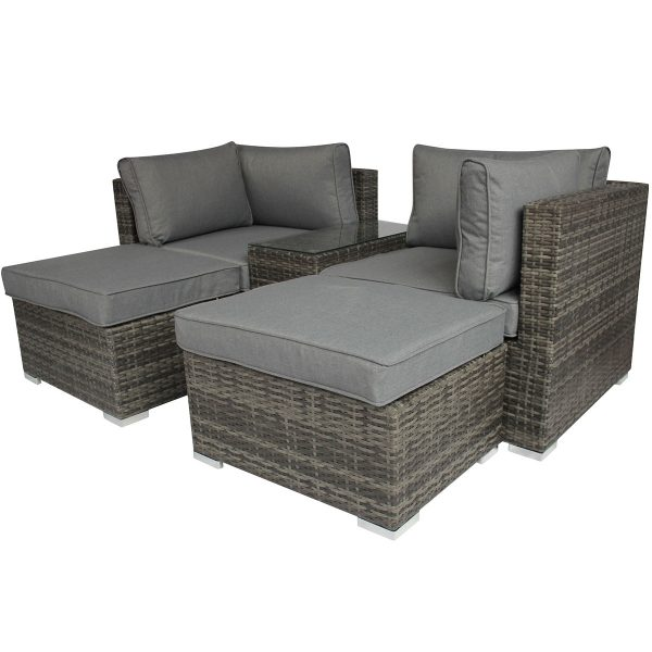 Charles Bentley Multifunctional Contemporary Lounge Set in Grey Rattan with Grey Cushion