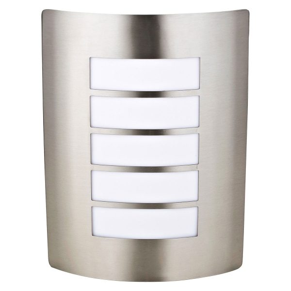Charles Bentley Outdoor Garden Stainless Steel Curved Wall Light