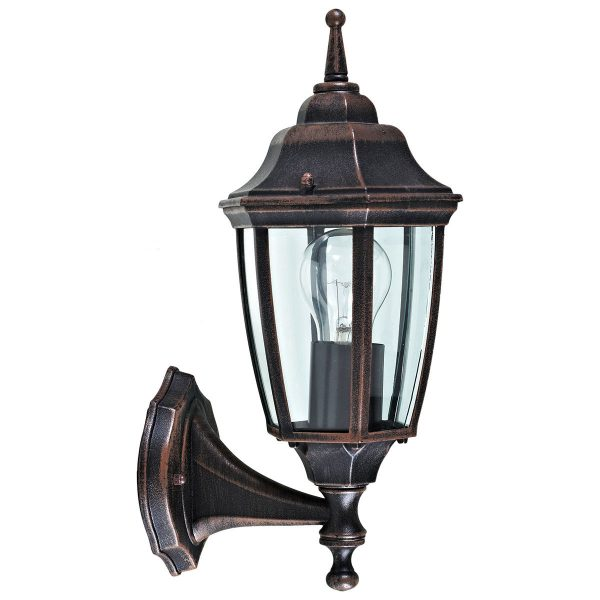 Charles Bentley Outdoor Garden Upright Black Traditional Lantern Wall Light