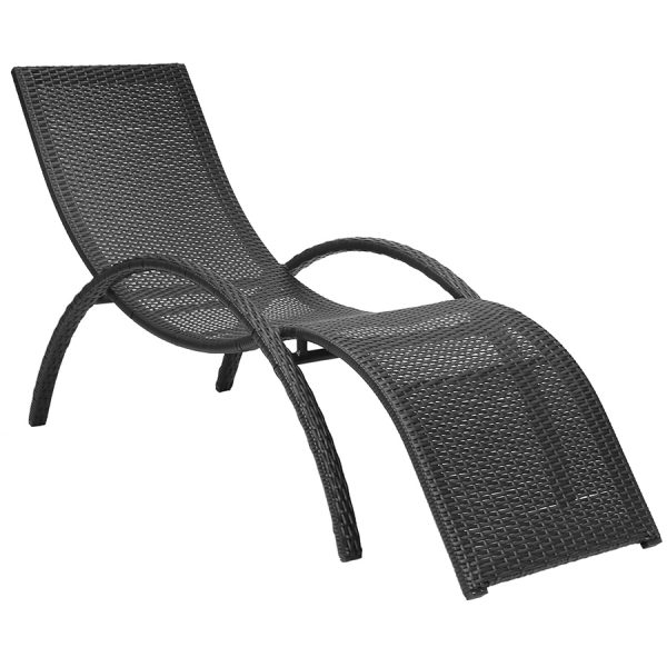 Charles Bentley Rattan-Effect Curved Sun Lounger - Dark Brown