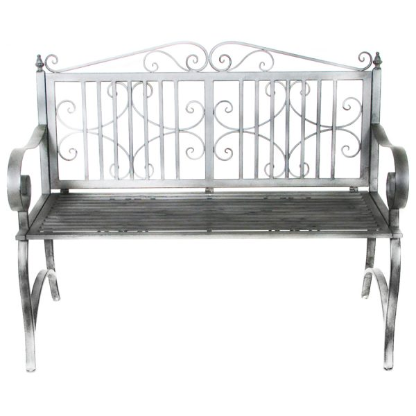 Charles Bentley Wrought Iron 2-Seater Garden Bench - Grey