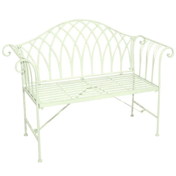 Charles Bentley Wrought Iron 2-Seater Garden Bench - Pastel Green