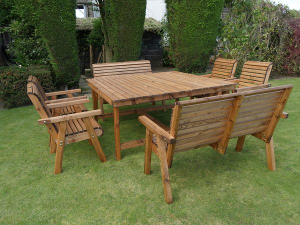 Eight Seater Wooden Garden Patio Set with Benches & Chairs