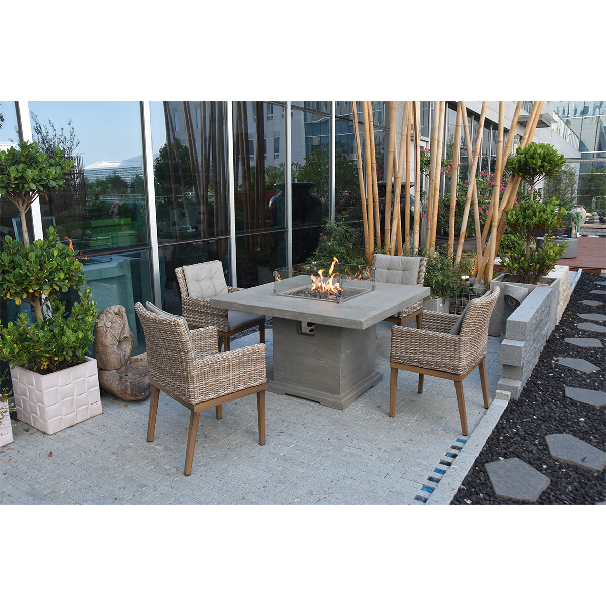 Picture of: Elementi Birmingham Dining Table Fire Pit