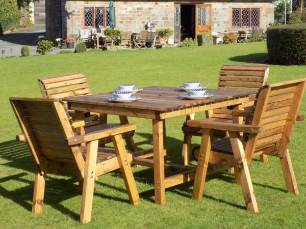 Four Seater Wooden Garden Patio Set - 4 Chairs