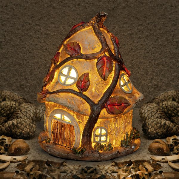 "Garden Glows ""Home of Maisy Dawnstorm"" Illuminated Solar Light Fairy House"