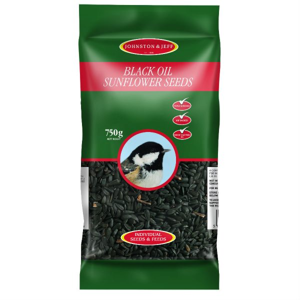 Johnston & Jeff Black Sunflower Seed Bird Food - 750g