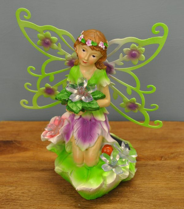Kneeling Fairy Figurine With Flowers Decorative Garden Light (Solar)