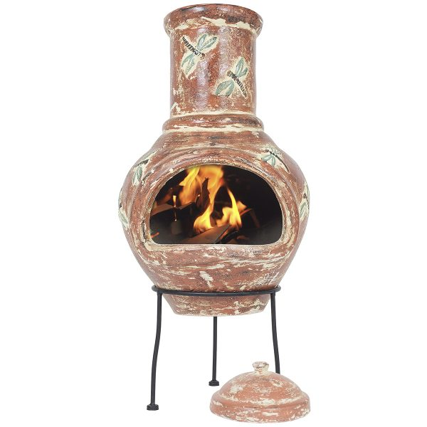 La Hacienda Alegria Medium Chimenea - Terracotta & Blue