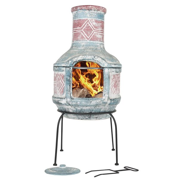 La Hacienda Geometric Medium Chimenea - Sea Blue & Red