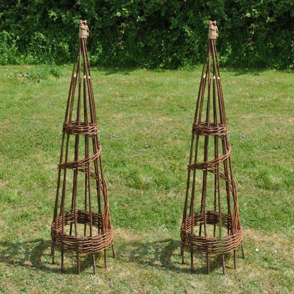 Set of 2 Spiral Willow Garden Obelisks (1.2m)