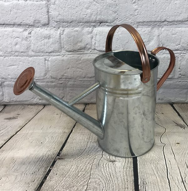 Silver & Copper Trim Metal Watering Can (4.5 Litre)
