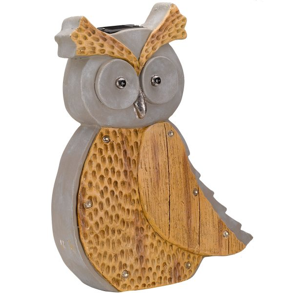 Smart Garden Wooden Stone Lit-In Solar Powered Owl Light