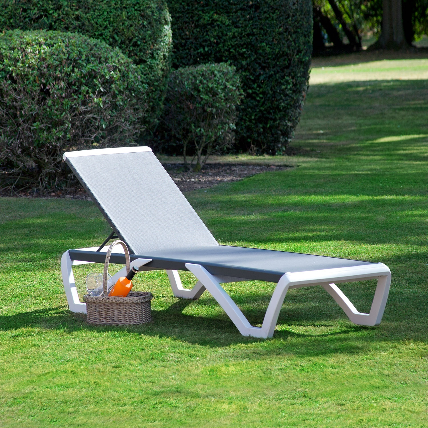Toledo Sun lounger White and Charcoal