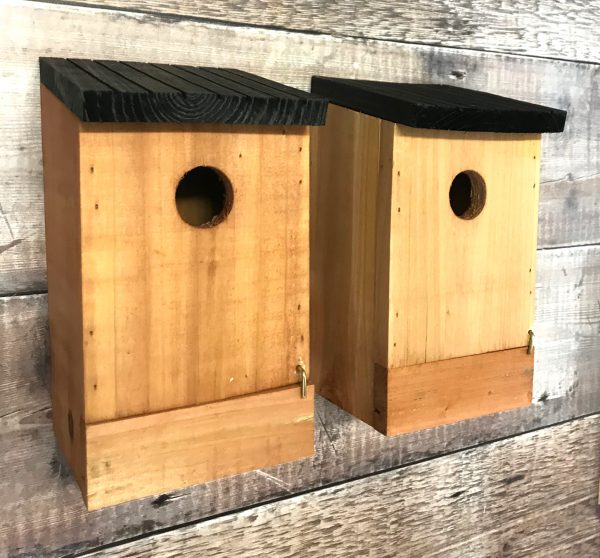 Traditional Wooden Bird Nest Box Birdhouses with Removable Bases (Set of 2)