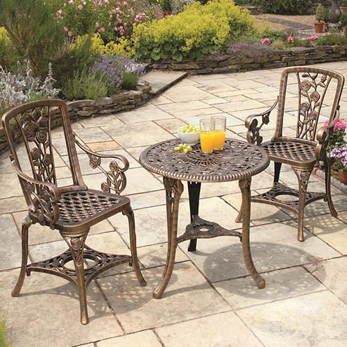 "3-pc ""Rose"" Arm Chair Patio Set Bronze"