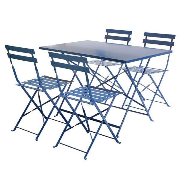 Charles Bentley 5-Piece Rectangular Folding Dining Set - Grey