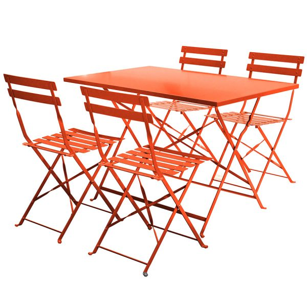 Charles Bentley 5-Piece Rectangular Folding Dining Set - Orange
