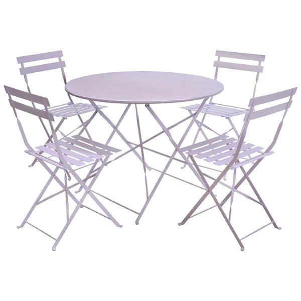 Charles Bentley 5-Piece Round Folding Dining Set - Lilac