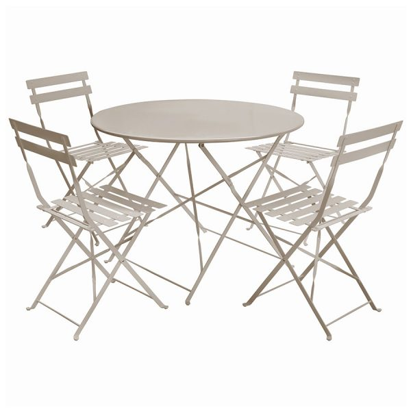 Charles Bentley 5-Piece Round Folding Dining Set - Taupe