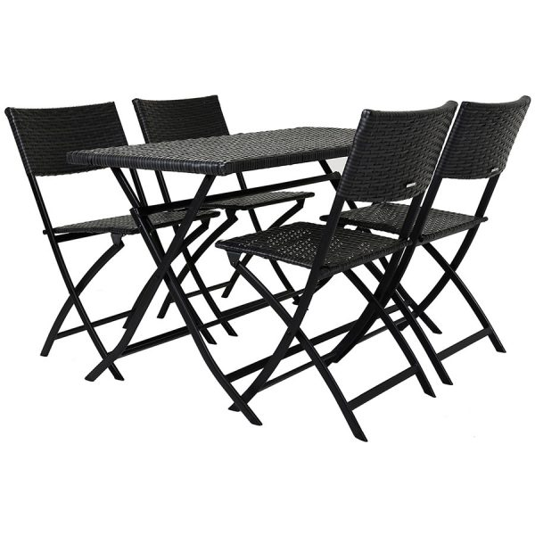 Charles Bentley Amalfi 4-Seater Folding Rattan Dining Set - Grey