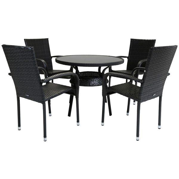 Charles Bentley Amalfi 4-Seater Rattan Dining Set - Grey